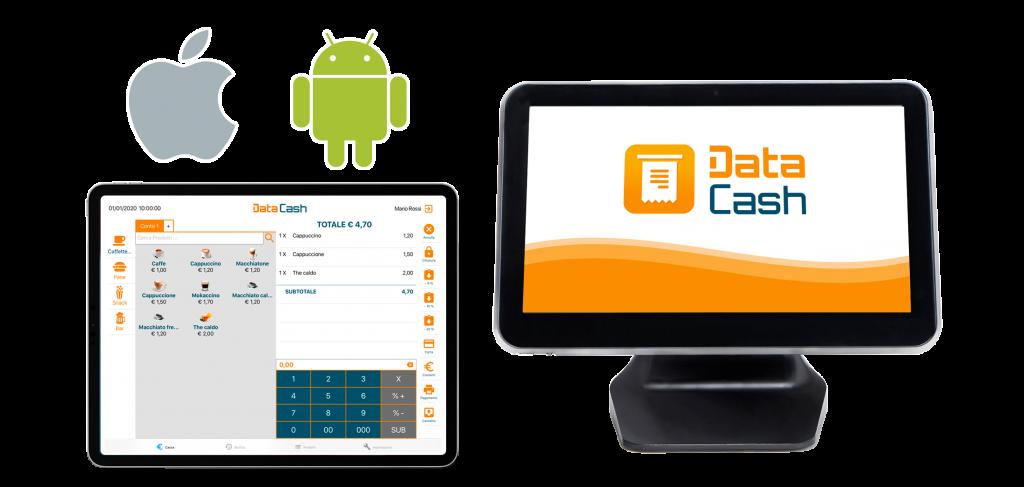 Data Cash app per scontrini elettronici e gestione del punto cassa. Compatibile con tablet android e tablet ios e casse all in one android