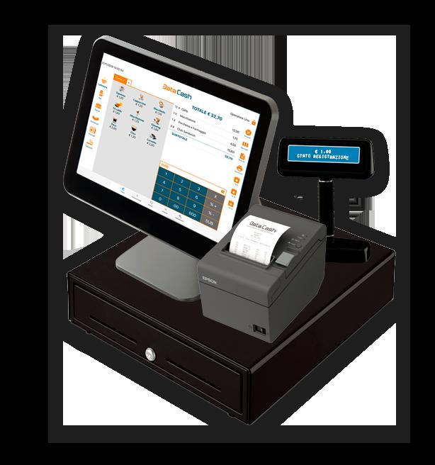 Cassa con app Data Cash per emissione scontrini elettronici e gestione punto cassa