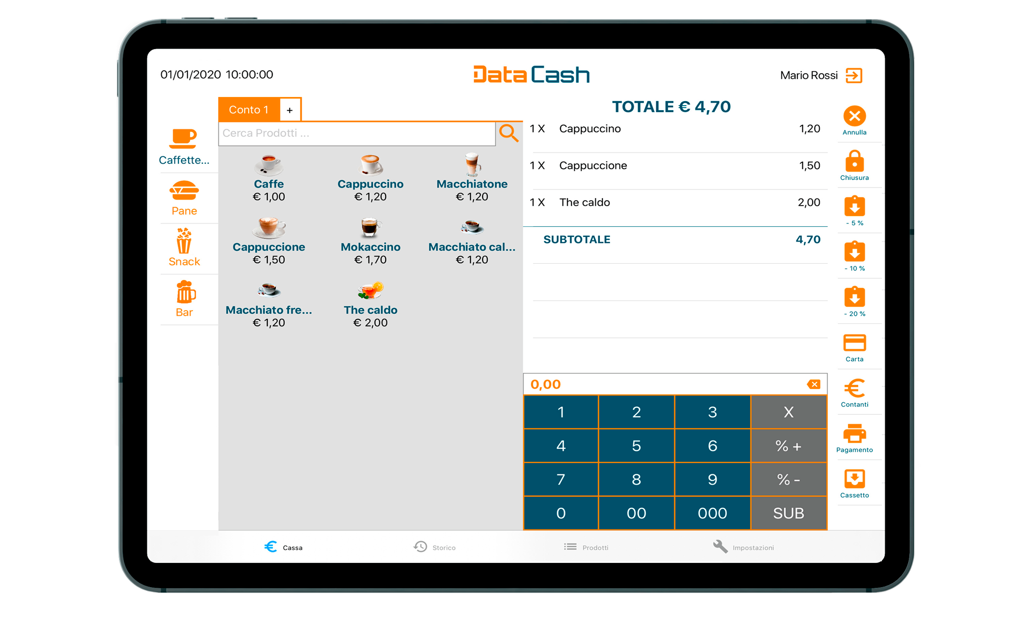 Data Cash app per scontrini elettronici e gestione punto cassa