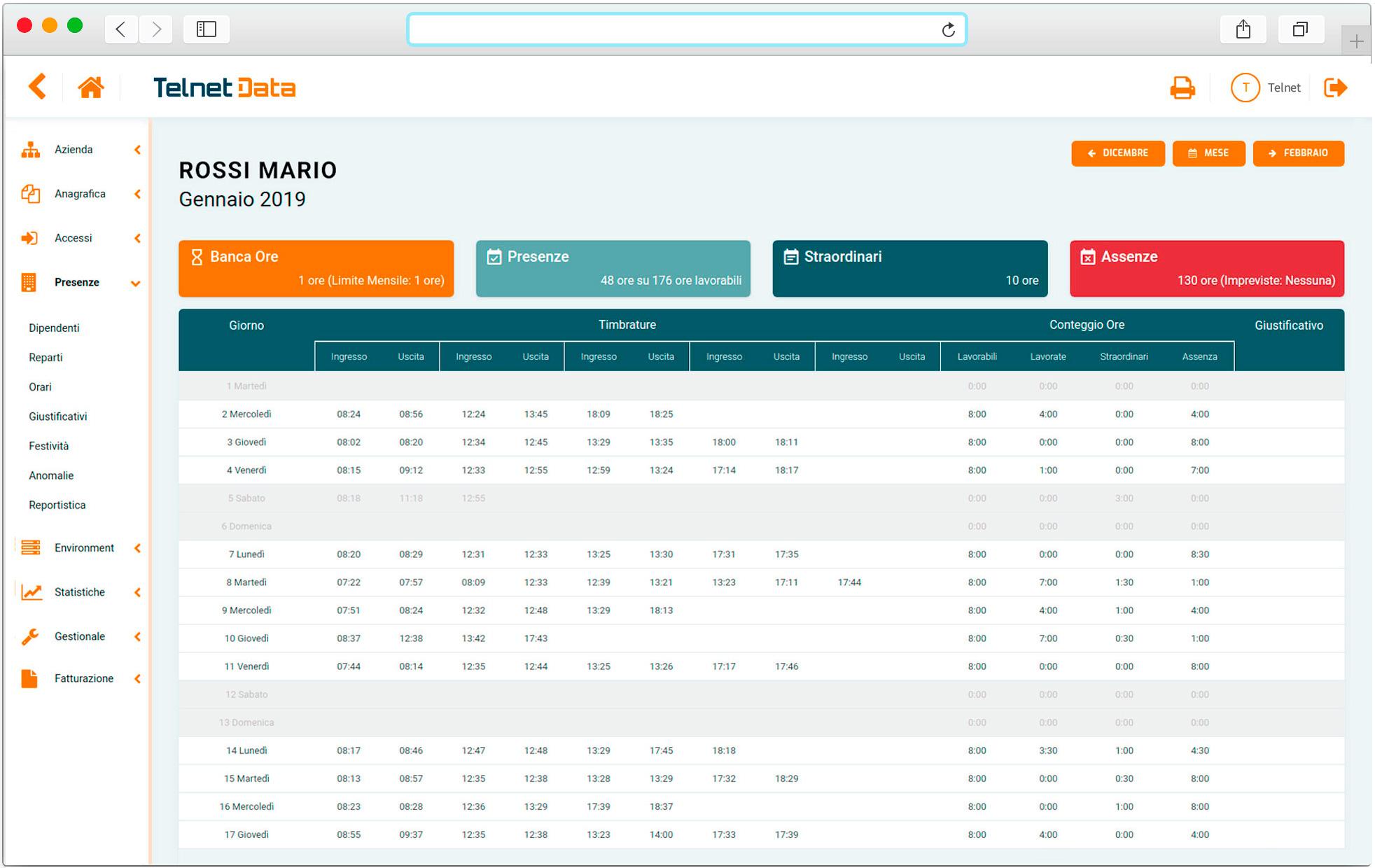 Schermata software gestionale cartellini dipendenti Telnet Data