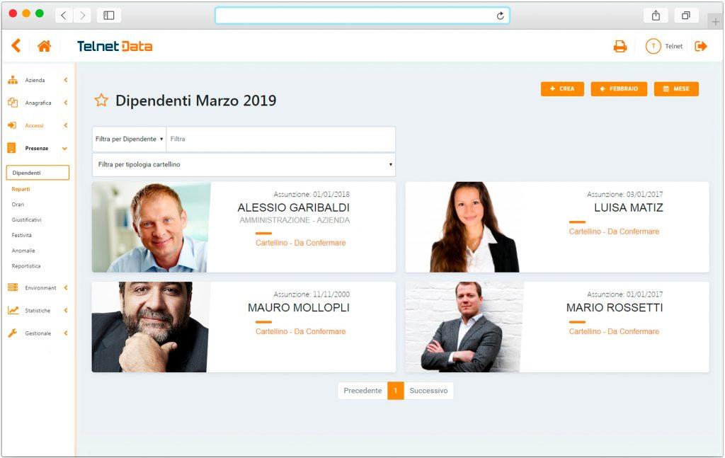 Schermata software gestionale dipendenti Telnet Data
