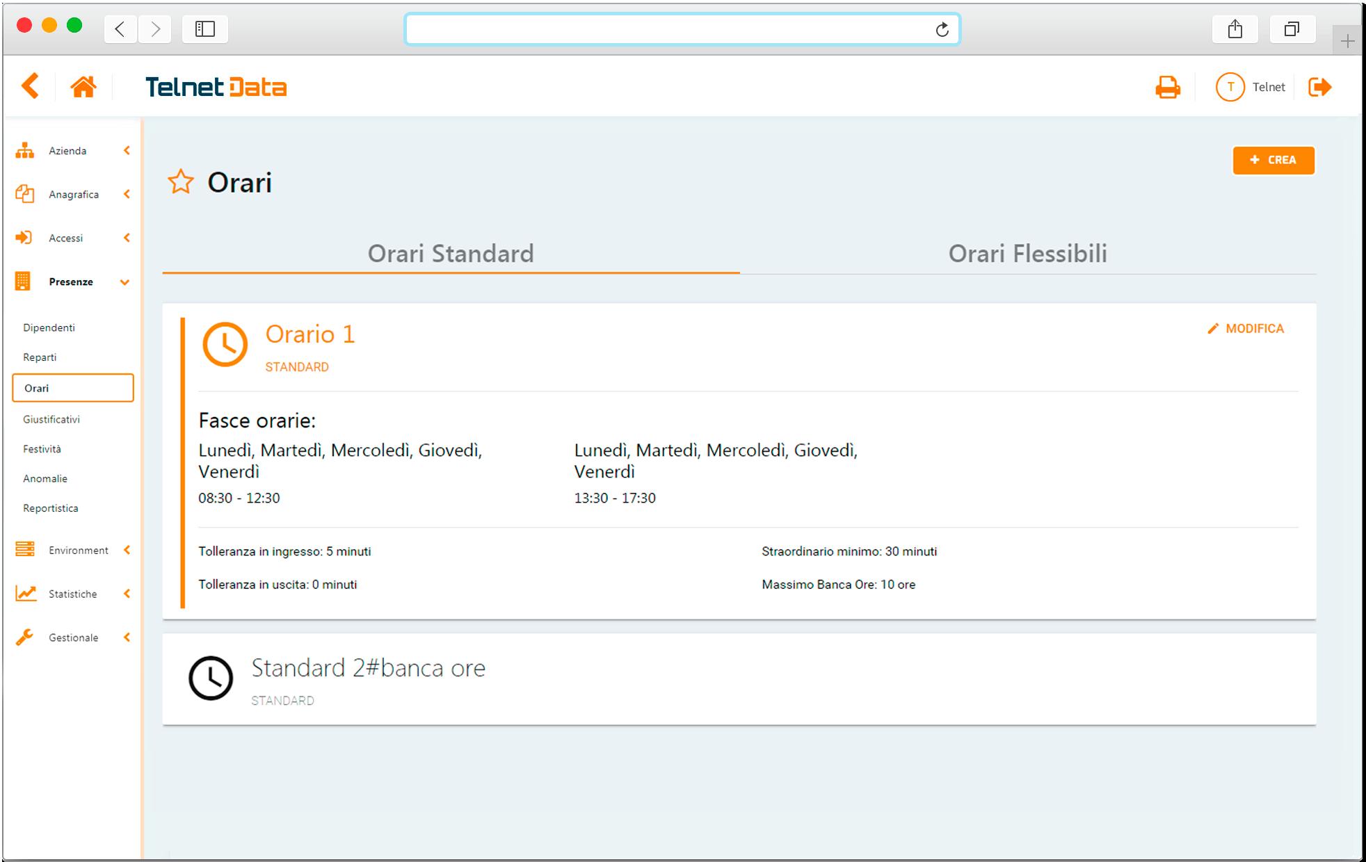 Schermata software gestionale orari presenze Telnet Data