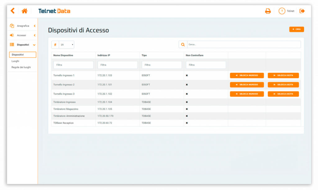 Schermata software gestionale dispositivi di accesso Telnet Data