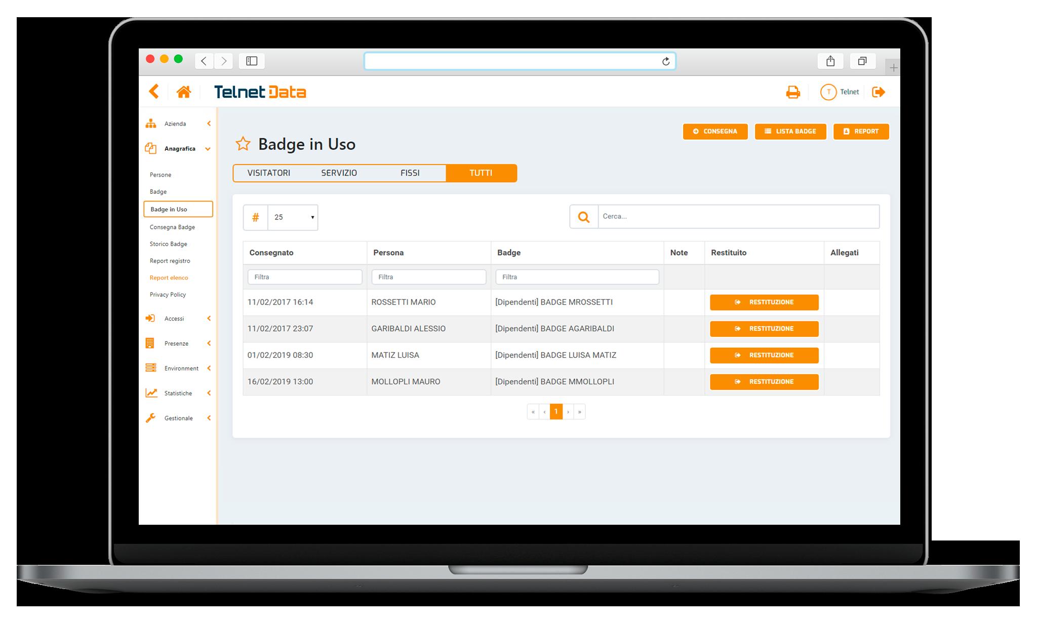 Schermata software gestionale accessi Telnet Data