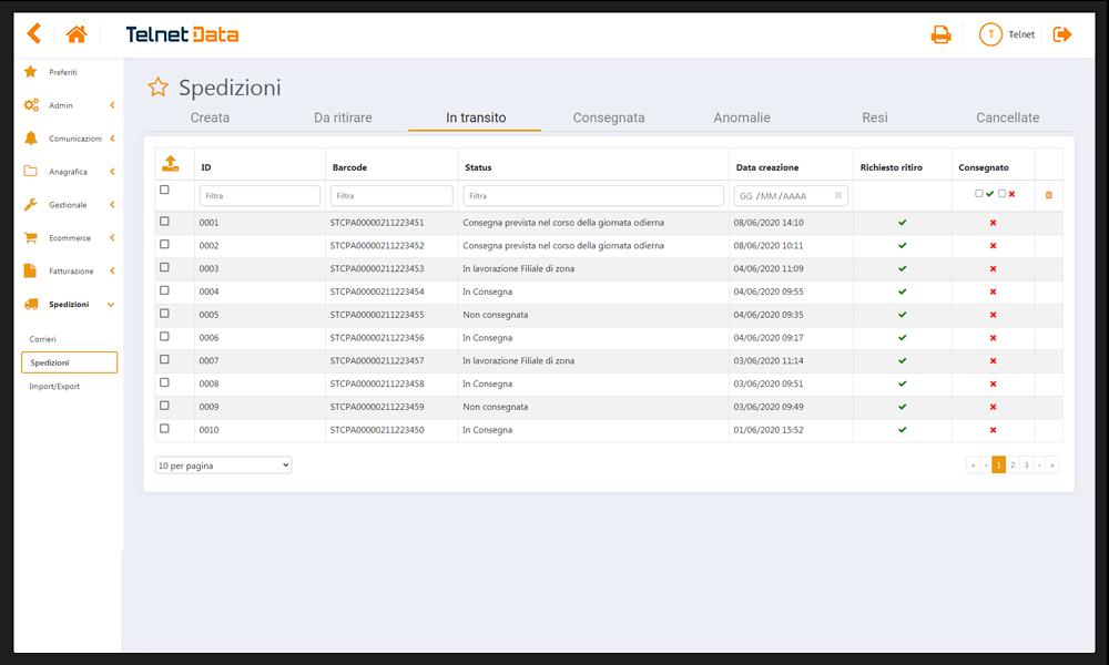 Dashboard spedizioni software Telnet Data