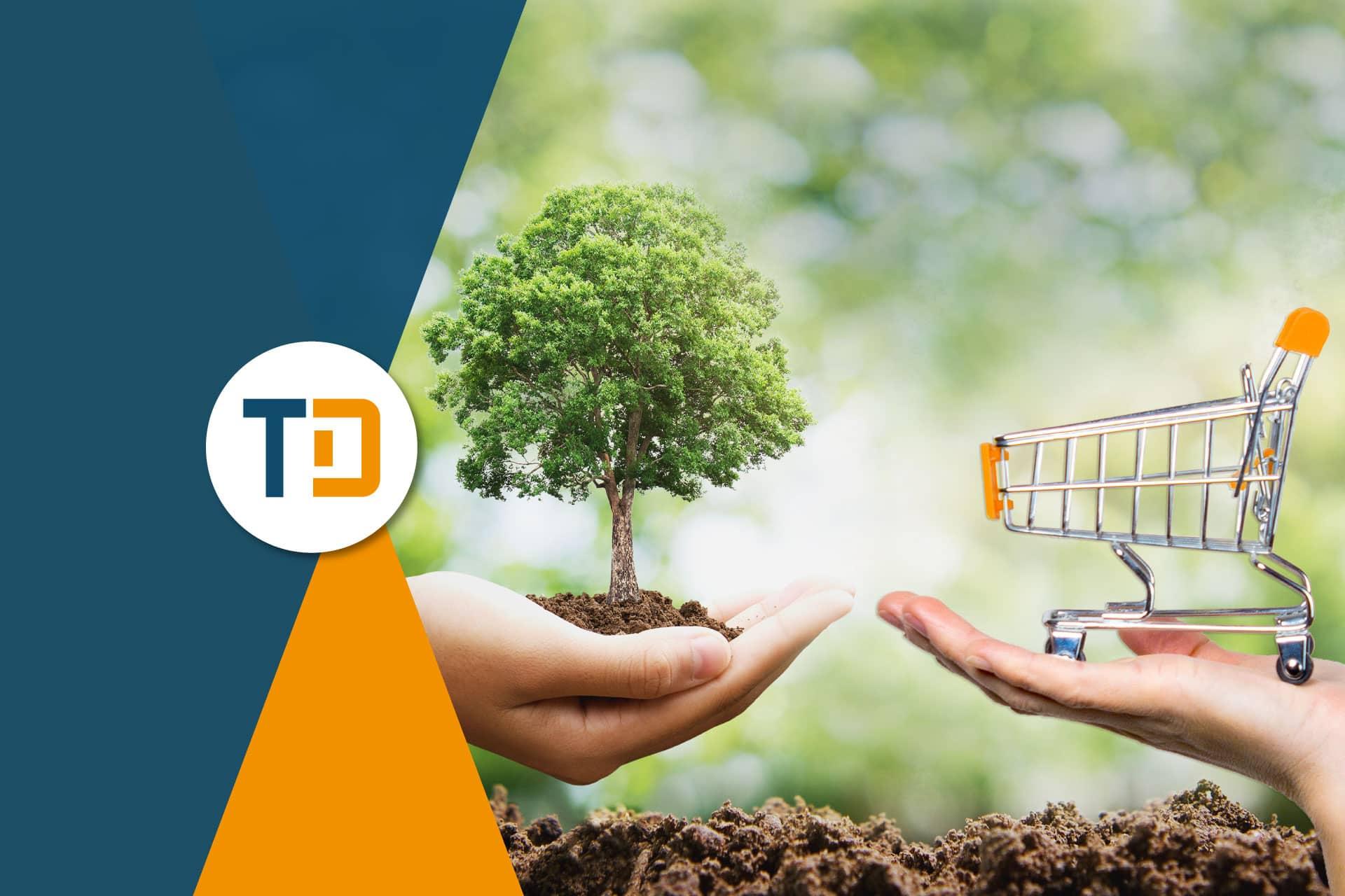Ecommerce e sostenibilità: mano con un albero e mano con un carrello della spesa