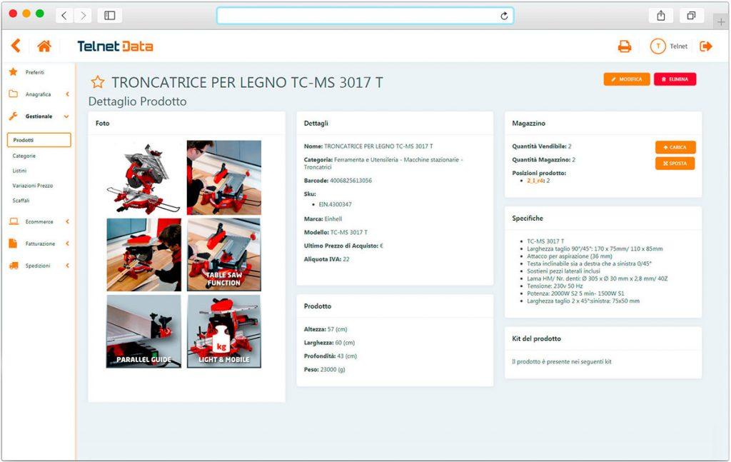 Schermata software gestionale e-commerce Telnet Data