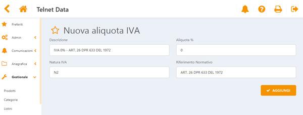 Iva Italia Data Sell schermata nuova aliquota iva