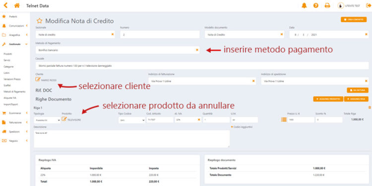 nota di credito software telnet data annullamento schermata